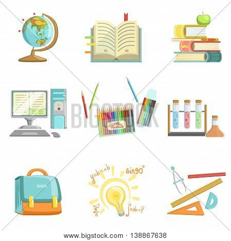 School Education And Studies Related Realistic Detailed Style Illustrations On White Background