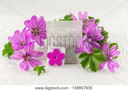 Malva Sylvestris, Mallow, Flowers And Teabag