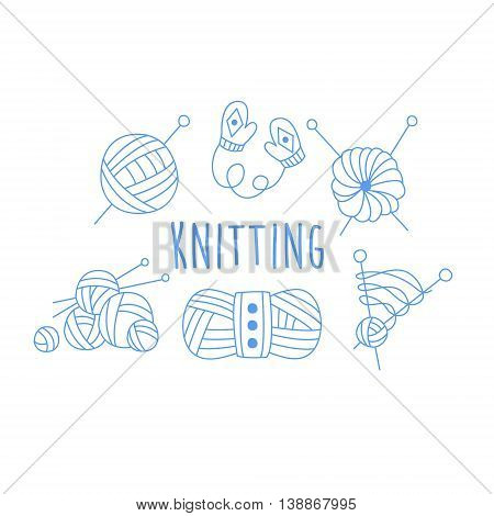 Knitting Related Icon Set With Text Hand Drawn Simple Vector Illustration Is Sketch Style