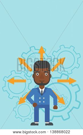 An african-american man with many arrows around his head standing on background with cogwheels. Concept of career choices. Vector flat design illustration. Vertical layout.