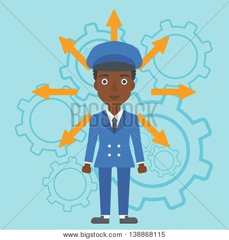 An african-american young woman with many arrows around her head standing on a blue background with cogwheels. Concept of career choices. Vector flat design illustration. Square layout.