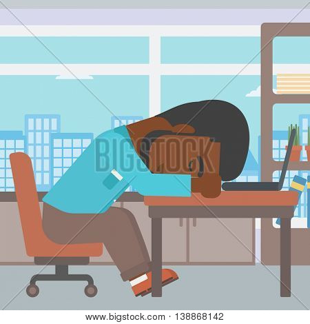 An african-american tired businessman sleeping on laptop keyboard in the office. Businessman resting at workplace. Vector flat design illustration. Square layout.