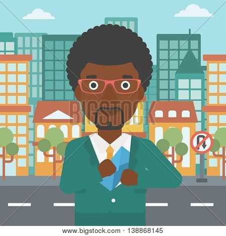 An african-american young businessman putting an envelope in his pocket on a city background. Vector flat design illustration. Square layout.