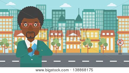 An african-american young businessman putting an envelope in his pocket on a city background. Vector flat design illustration. Horizontal layout.