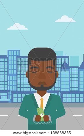 An african-american young businessman in handcuffs with money in hands on the background of modern city. Businessman handcuffed for crime. Vector flat design illustration. Vertical layout.