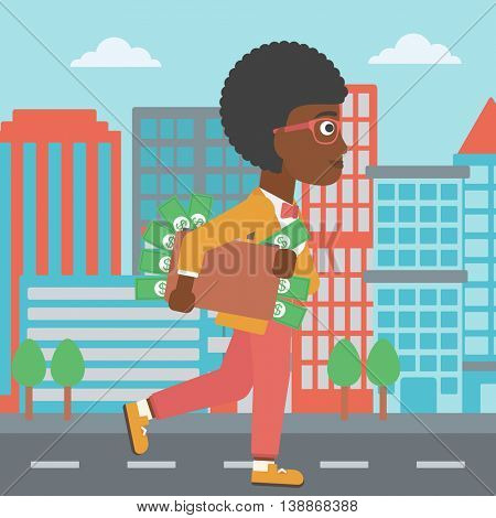 An african-american young business woman walking in the city with suitcase full of money. Vector flat design illustration. Square layout.