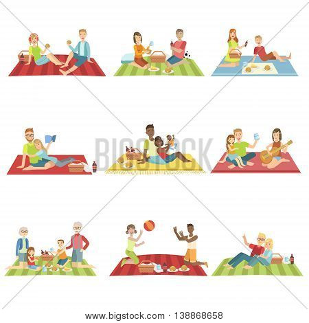 People On Picnic Outdoors Bright Color Cartoon Simple Style Flat Vector Set Of Stickers Isolated On White Background
