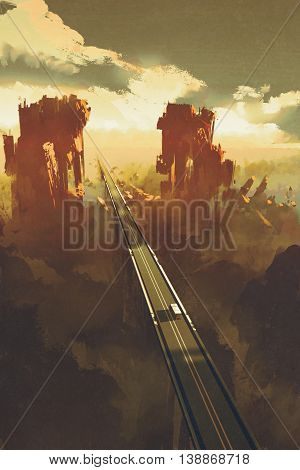 straight road through rock canyons, illustration, digital painting