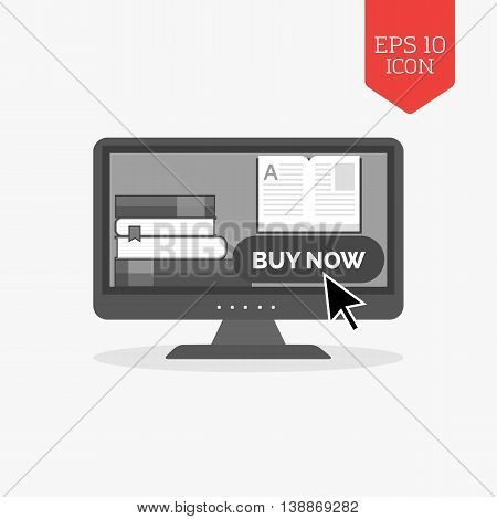 E-book Buying Concept Icon. Flat Design Gray Color Symbol. Modern Ui Web Navigation, Sign.