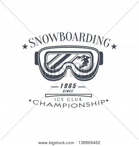 Ice Club Championship Emblem Classic Style Vector Logo With Calligraphic Text On White Background