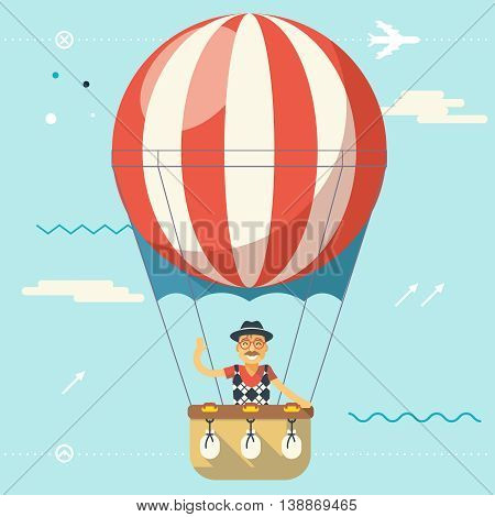 Summer Vacation Tourism Journey Travel Lifestyle Concept Planning Symbol Happy Man Geek Hipster Flying Sky Dirigible Balloon Modern Flat Design Icon Template Vector Illustration