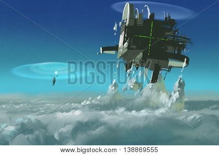 man casting the futuristic structure breaking through clouds, illustration painting