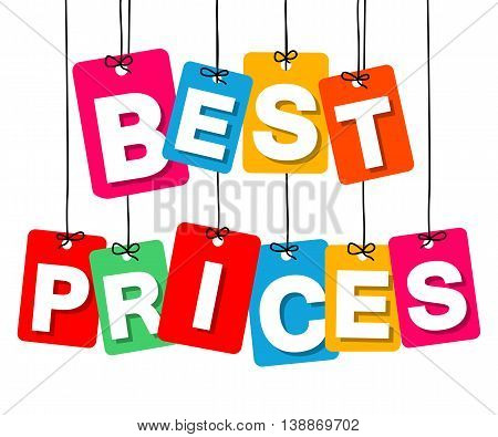 Vector colorful hanging cardboard. Tags - best prices on white background