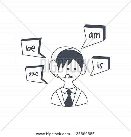 Synchronized Translation Via Audio Technology Black And White Hand Drawn Illustration In Simplified Graphic Style On White Background