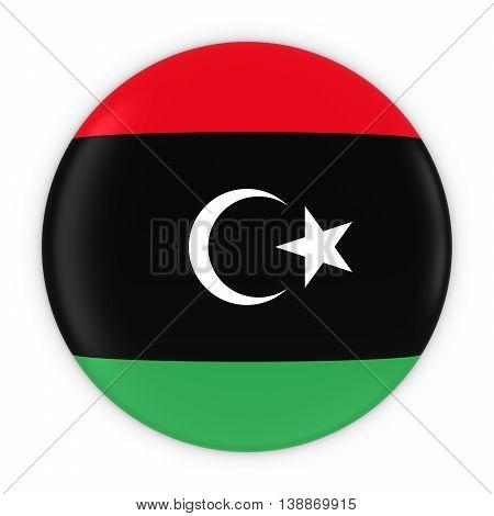 Libyan Flag Button - Flag Of Libya Badge 3D Illustration