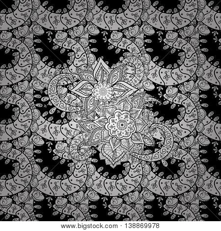 Seamless vintage floral pattern on black background with white elements.