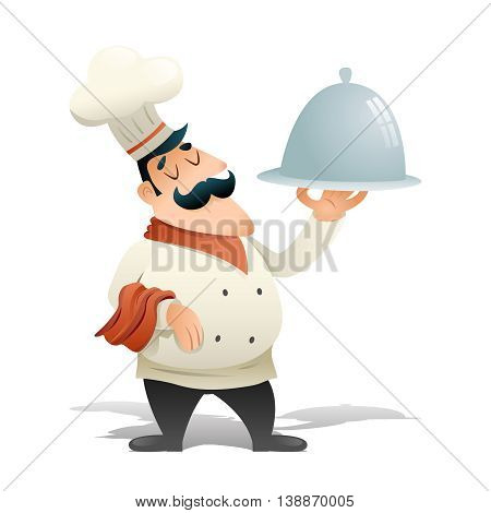 Happy Smiling Male Chief Cook Serving Dish Food Icon Isolated Retro Vintage Cartoon Design Vector Illustration
