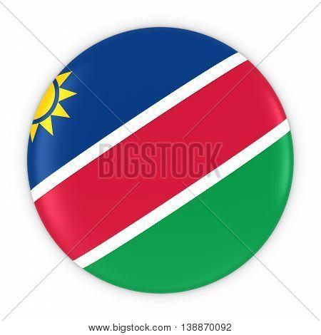 Namibian Flag Button - Flag Of Namibia Badge 3D Illustration