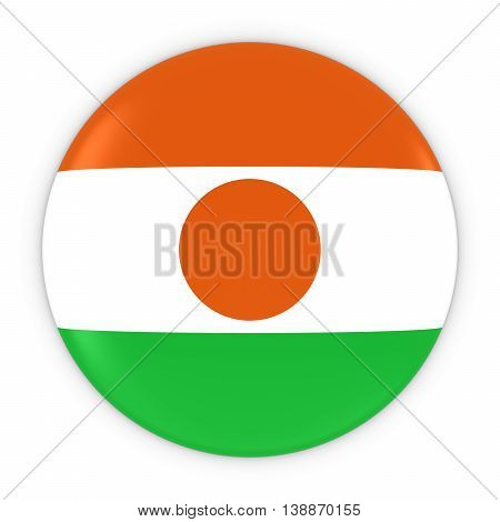 Nigerien Flag Button - Flag Of Niger Badge 3D Illustration