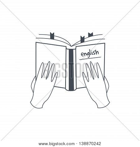 Hands Holding English Language Manual Black And White Hand Drawn Illustration In Simplified Graphic Style On White Background