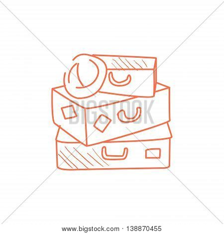 Pile Of Suitcases Prepared For Travel Hand Drawn Childish Illustration In Funny Comic Style On White Background