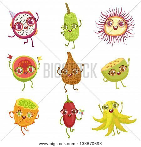 Tropical Fruits Girly Cartoon Characters Set. Childish Design Stickers With Humanized Bright Color Fruit Characters.