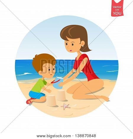 cartoon baby and mom playing on the beach.