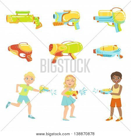 Kids Playing With Water Pistols And Different Water Guns, Colorful Flat Bright Color Vector Illustration On White Background