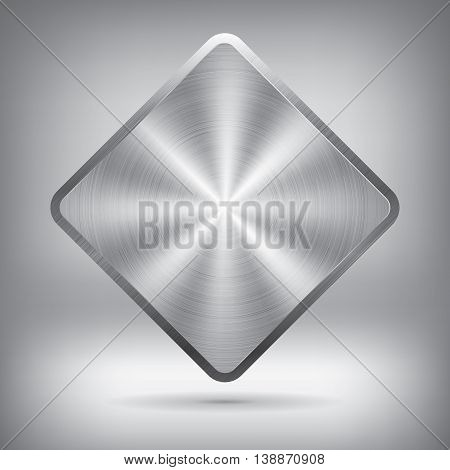 Metal button, vector metallic texture, rhombus element for you project design
