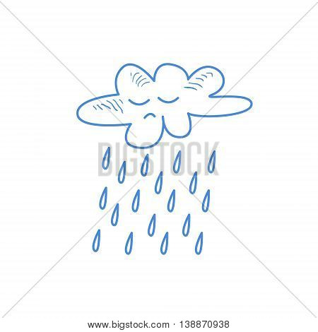 Sad Cloud Pouring Rain Hand Drawn Childish Illustration In Funny Comic Style On White Background