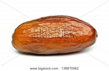 Single dried date fruit isolated on white background