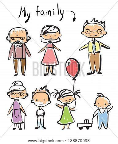 Vector cute children's doodle of happy family.