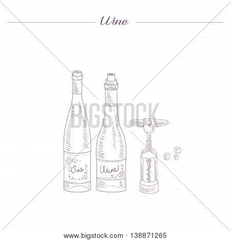 Two Wine Bottles And Corkscrew Hand Drawn Realistic Detailed Sketch In Beautiful Classy Style On White Background