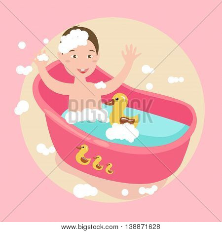kids happy play water in bath with rubber duck soap all around vector
