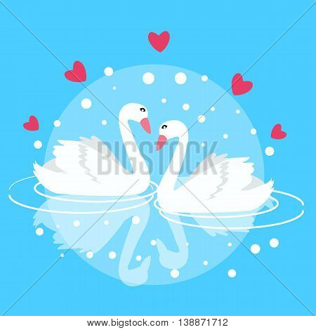 two swan swimming fall in love couple marriage symbol decorative vector