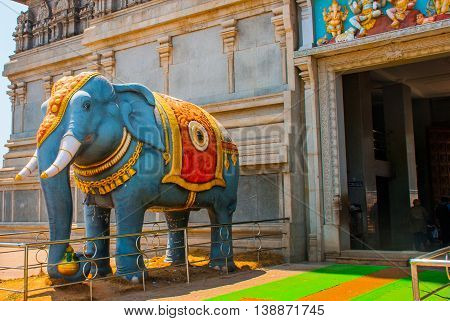 Elephant Statue At The Entrance. Raja Gopuram Tower. Murudeshwar. Karnataka, India
