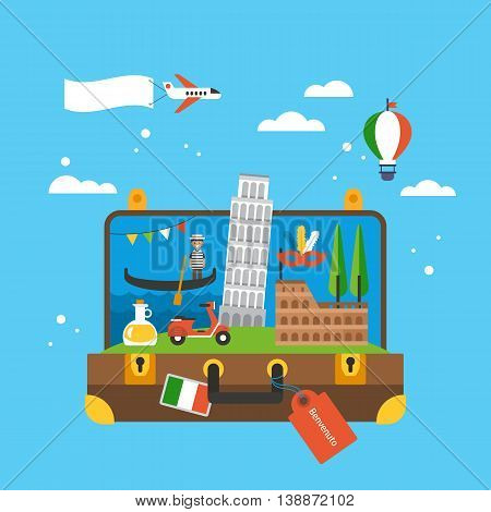 Travel To Italy Concept With Landmark Icons Inside Suitcase. Flat Elements For Web Graphics And Desi