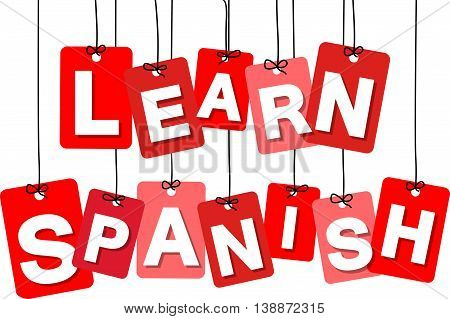 Vector colorful hanging cardboard. Tags - learn spanish on white background