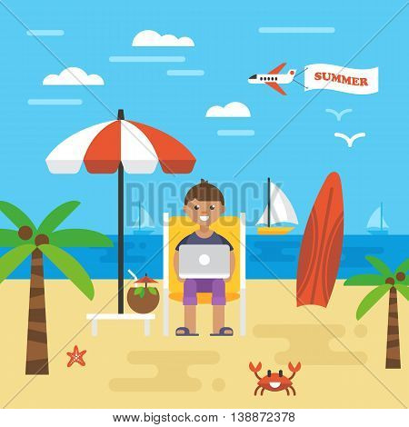 Summer Holiday Vacation With Freelancer Working On Beach. Icons And Elements For Graphics, Website A