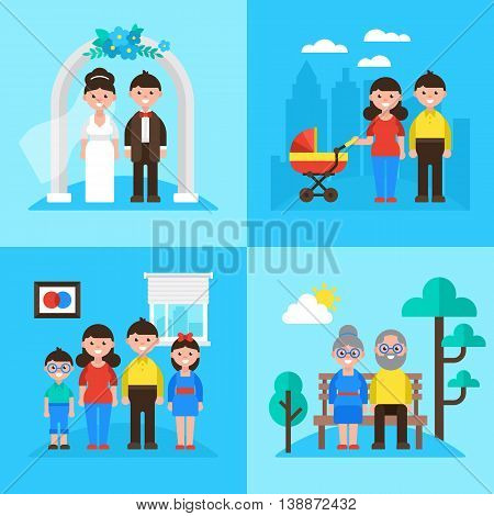 Family Planning Concept, Marriage, Young Parents, Kids And Seniors. Vector Illustration