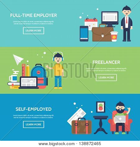 Freelancer, Full-time Employer And Self-employed Concept Website Banners. Isolated Vector Illustrati