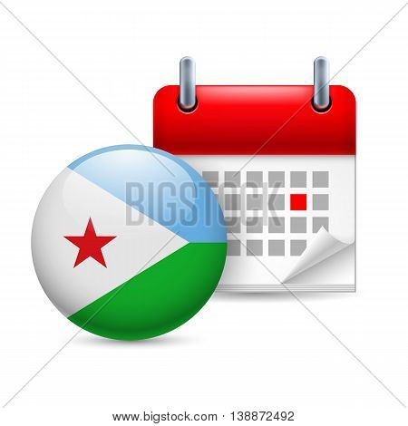 Calendar and round flag icon. National holiday in Djibouti