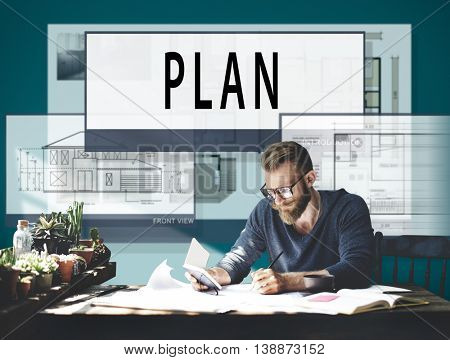 Plan Planning Architecture Blueprint Drawing Concept