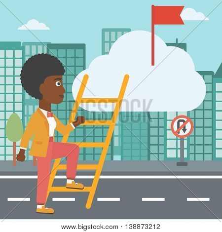 An african-american young business woman climbing up the ladder to get the red flag on the top of the cloud. Vector flat design illustration. Square layout.