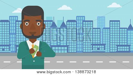 An african-american young businessman putting money in his pocket on a city background. Vector flat design illustration. Horizontal layout.
