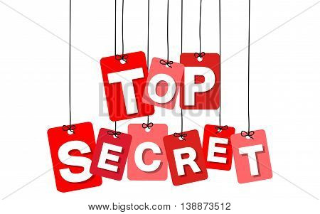Vector colorful hanging cardboard. Tags - top secret on white background