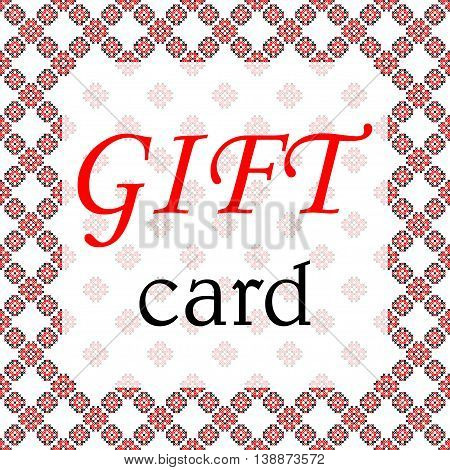 Frame gift card black and red patterns on canvas abstract embroidery