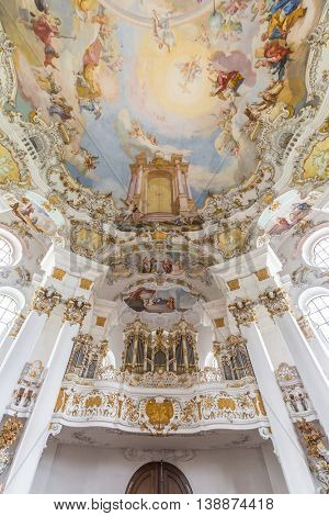 Interior of Pilgrimage Church of Wies near  Fussen Bavaria, Germany