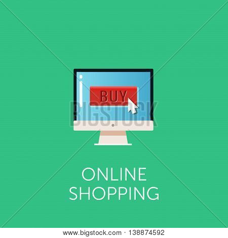 Vector online shopping icon. Concept of online shop. Cursor on button 'buy'. Flat style design