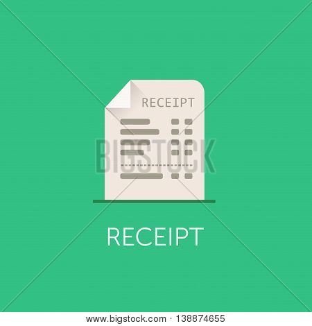Vector Receipt Icon. The bill with total cost illustration. Flat style design
